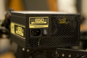 650 Watt logo on back of Power Supply Unit (PSU)