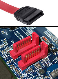 Picture of SATA cord and ports