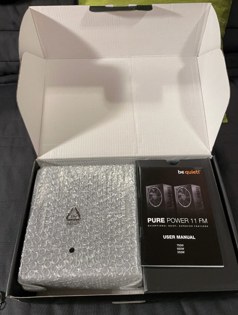 Inside the box of the be quiet PURE POWER 11 FM 750W - Newb Computer Build
